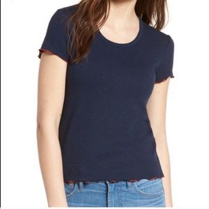 Madewell Ruffle Short Sleeve T-Shirt Top Navy Blue